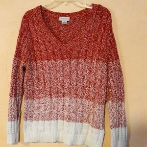 Block Stripe Knit Red and White Sweater